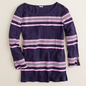 J. Crew Boardwalk-stripe Zipper Tee